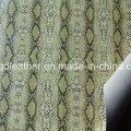 Couro de sapatos de PU de dupla face de superfície de cobra (qdl-sp044)