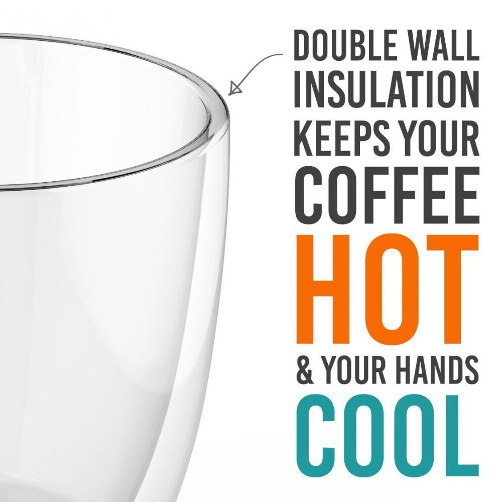 Large SIze Double Wall Glass Insulated Coffee Mug