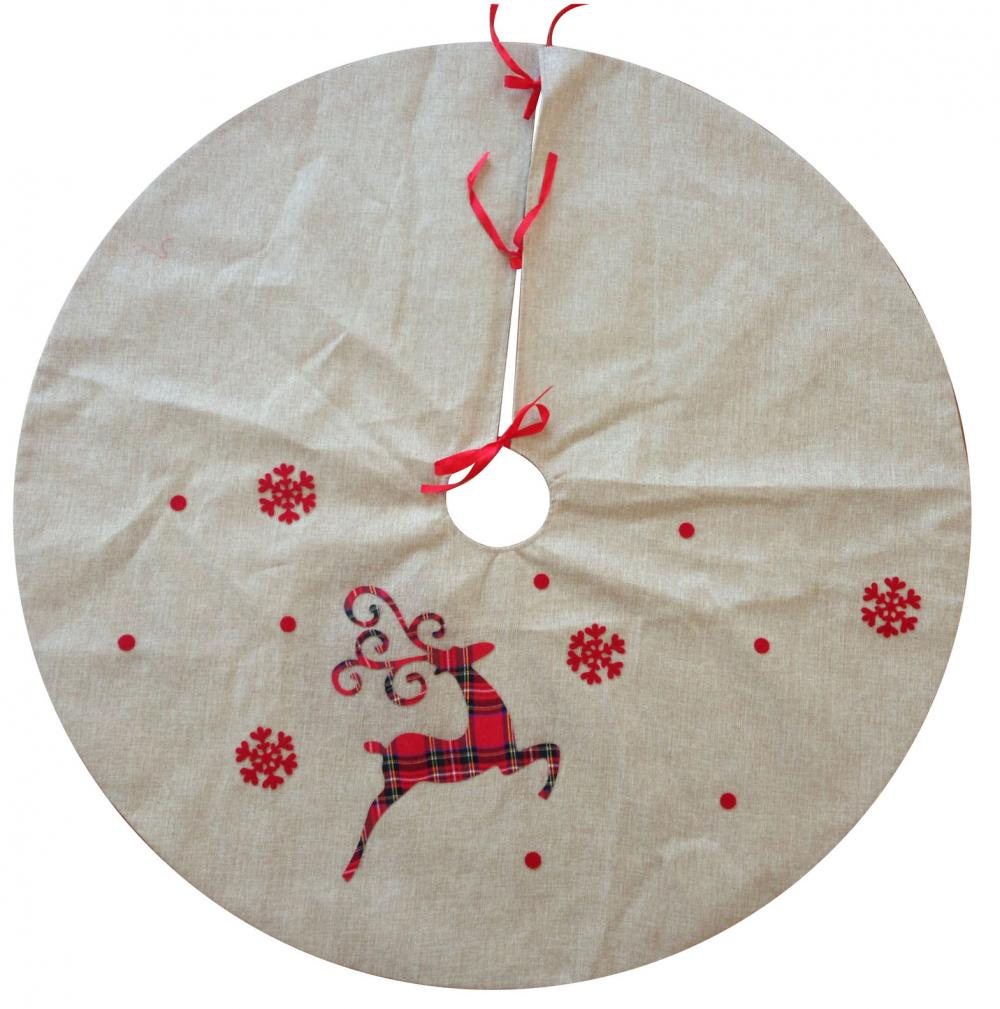 Burlap Christmas Reindeer Pattern Tree Skirt