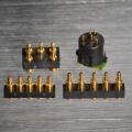 Conector de pino Pogo ouro chapeado com mola carregada, economizando espaço, alta corrente e confiabilidade