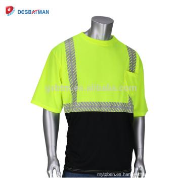 Nuevo estilo top poliéster Hi Vis Viz camiseta de seguridad de manga corta camiseta de trabajo de dos tonos con cinta reflectante y bolsillo
