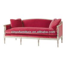 Pink velvet hotel wooden sofa XY0967