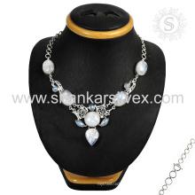 Collar envejecido de la plata de la piedra preciosa de la piedra lunar del arco iris venta al por mayor 925 joyas de la joyería de la plata esterlina
