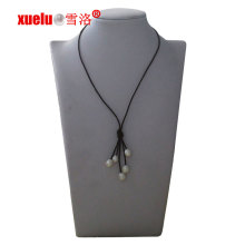 Fashion Leather Tassels Collier de perles naturelles cultivées en gros