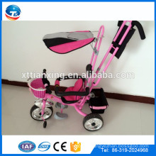 The Cheap baby kids stroller tricycle with roof and back seat front basket/Best deals on Pakistan Kids tricycle with CE proved