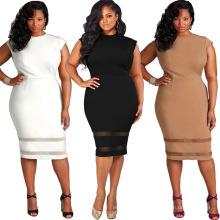 Gedruckt solide Mode plain Premium Polyester lange Frauen Spitze sexy plus Größe Kleid