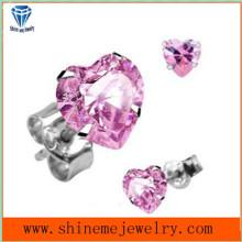 Pink Zircon incrustaciones de acero inoxidable moda joyería Ear Stud (ER2665)