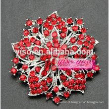 Broche de broche de noiva de cristal de flores