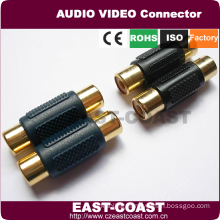 Gold rca jack to jack rca cable coupler