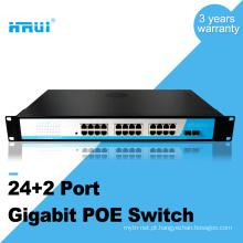 Interruptor do porto do elevado desempenho 1000M 48v 2 sfp port 24 portas poe