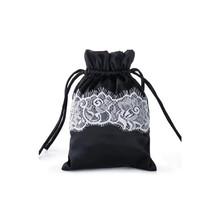 drawstring satin bag with lace in middle