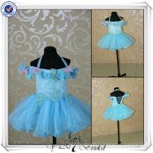 FF0002 реальный образец голубой органзы пушистый цветок девочка платье узоры