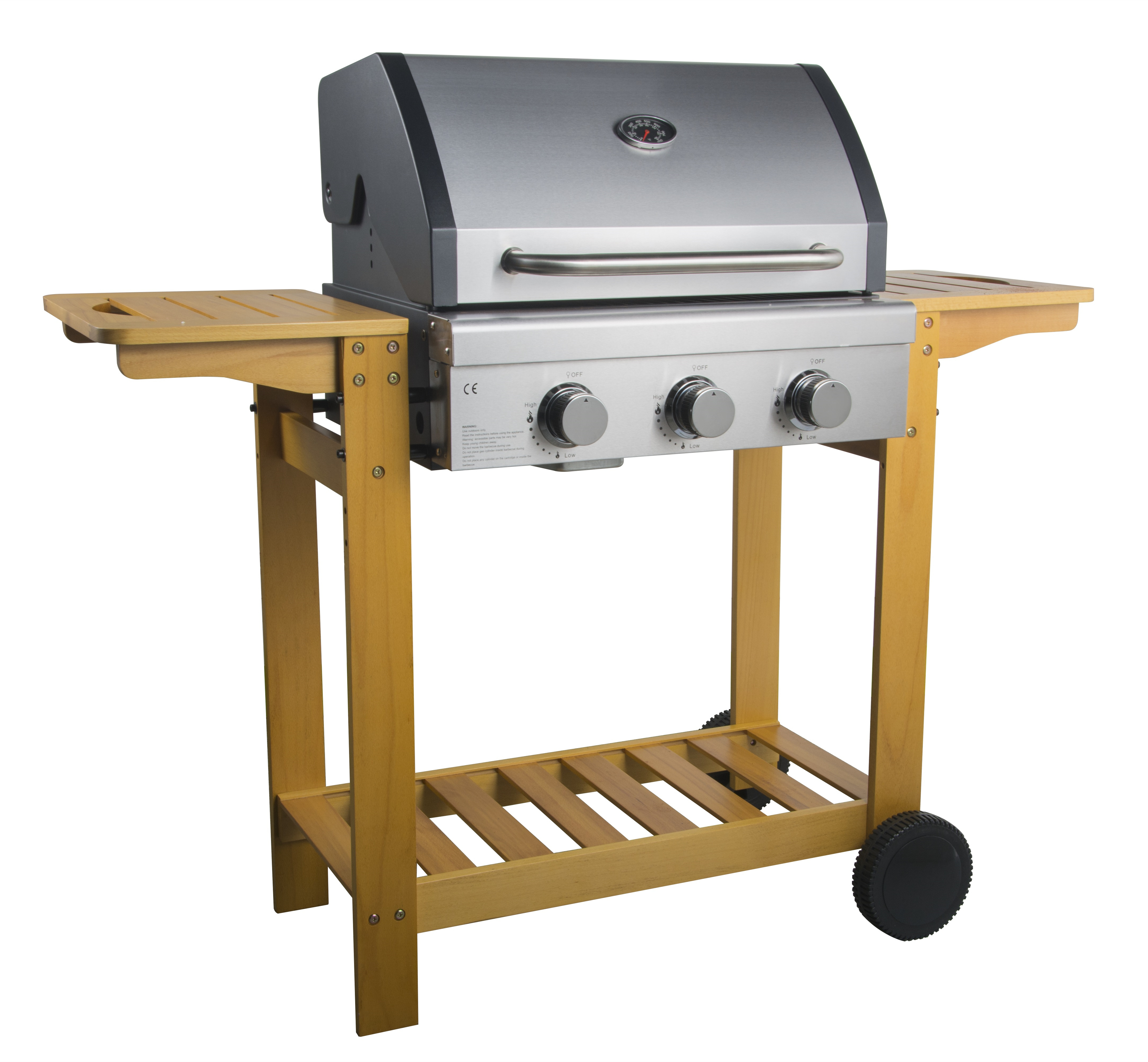 Wooden Trolley Gas Barbecue Grill
