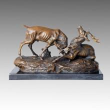 Tier-Statue Doppel-Hirsche spielen Bronze-Skulptur, Thomas Tpal-155
