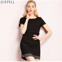 Autumn Popular High-End European and American Fashion Brand Splicing Skirt Two Straight Women Dress