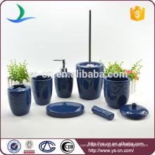 Living classical ceramic 7PCS blue bathroom accessories set