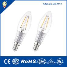 Ampoule bougie blanche chaude de filament de LED de la couverture 3W E26