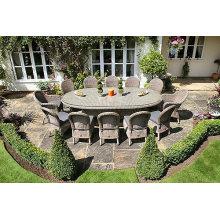 12st Garten Rattan Stuhl mit ovalem Tisch