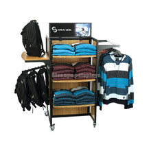 Novel Handmade Metallic Wood Branded Clothing Retail Store Movable Rolling Display Clothes Rack