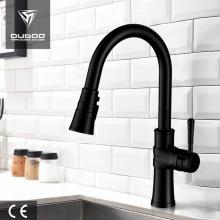 Deckmontierter schwarzer Pulldown-Küchenarmatur für Waschbecken