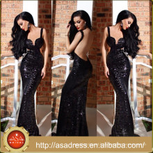 PS-05 Glamorously Sexy Full-Length Black Gown with Straps Sexy Backless Prom Dress for Special Occasion Party