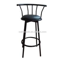 Chaise à barres en métal pivotante à dossier avec éponge pour bar