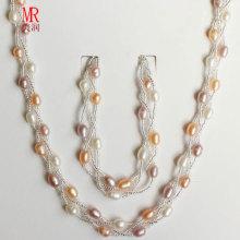 Conjunto de jóias de pérolas de cores misturadas