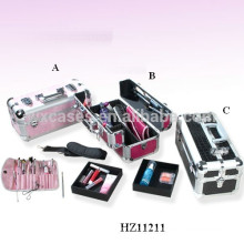 pink aluminum cosmetic case with trays inside from China manufacturer
