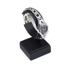 Cuero PU negro C Clips reloj Display Stand (WS1)