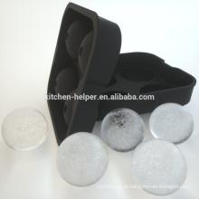 Cubo de gelo de silicone bandeja de cubo de gelo fabricante preto silicone bola de bolha de molde
