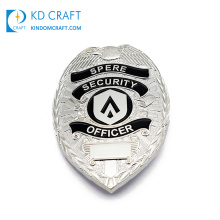 China manufacturer custom metal zinc alloy embossed 3d silver plated enamel security officer lapel pin