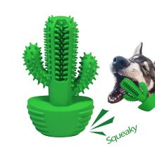 Dog dental care Pet chewing stick Cactus squeaker dog toothbrush for cleaning