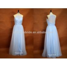 Fresh Light Blue Halter Floor Length Tulle Wedding Robe de demoiselle d'honneur pour l'été