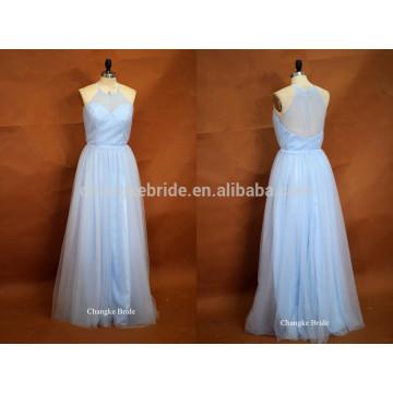 Nueva luz azul halter palabra de longitud tul vestido de dama de honor de la boda para el verano