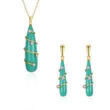 Resina Pendiente Mujer Joyería Set Verde Resina Oro Collar y Aretes Set