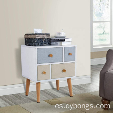 Modern Night stand Side End Table Bedroom Living Room Sitting Room 4 Drawers White