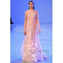Robe de mariée printemps 2014 Empire Robe à bijoux à manches longues et manches longues Robe de mariée en perles à rayures fait à la main NB042