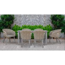 Diseño simple Rattan de mimbre de mimbre 6 sillas comedor conjunto para el jardín al aire libre Mobiliario de mimbre patio