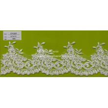 Цвета слоновой кости Швейцарский шнурок ткань Подол кружева для свадебное платье свадебное CTC207
