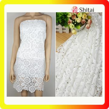 Mesh dress putih bordir kain renda mode