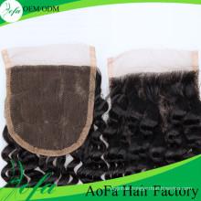 Aofa Deep Wave Closure Hair, Remy Virgin Human Hair Extension