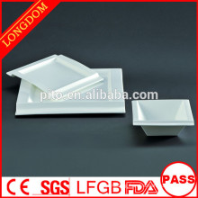 2015 new design white porcelain square plate bowl with attractive design
