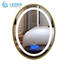 LEDER Miroir Doré Avec Lumières
