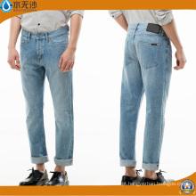 Fábrica OEM Homens Moda Algodão Estiramento Slim Fit Marca Jeans
