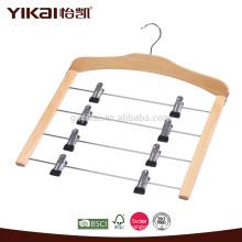 Cabide de saia de madeira com 4 fileiras de clipes de metal