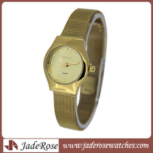 Gold Stainless Steel Band Lady Quartz Watch