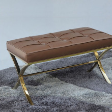 Leather top stainless steel leg bench