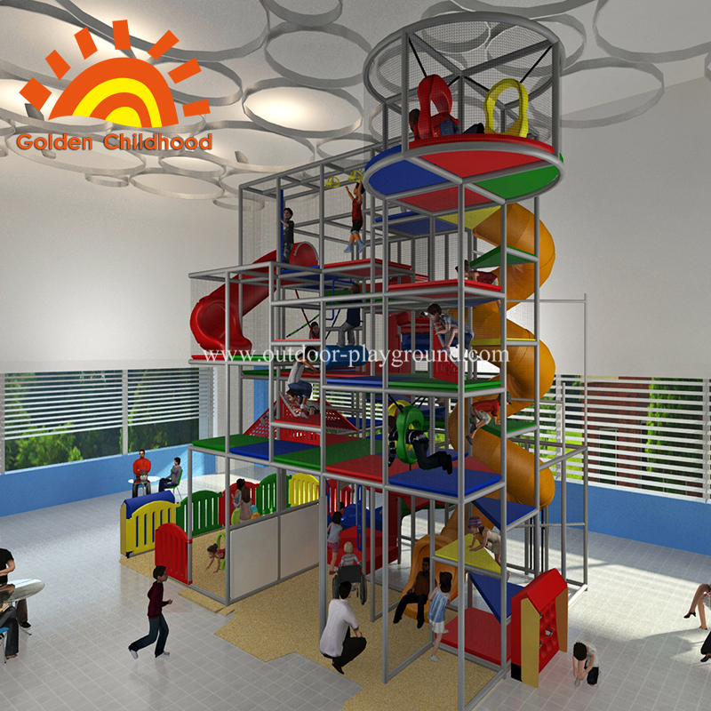 Large play area indoor mall with slide for children