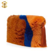 Plus de couleurs Trim Genuine Fox Fur Women Hand Bag Avec Tassels