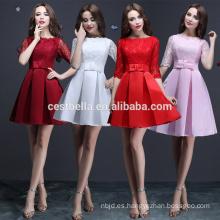4 colores Vestido de partido multicolor del vestido de noche del vestido de cena de la media de la manga